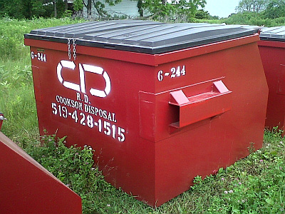 Front Loader Bin Rental in Cayuga, Ontario